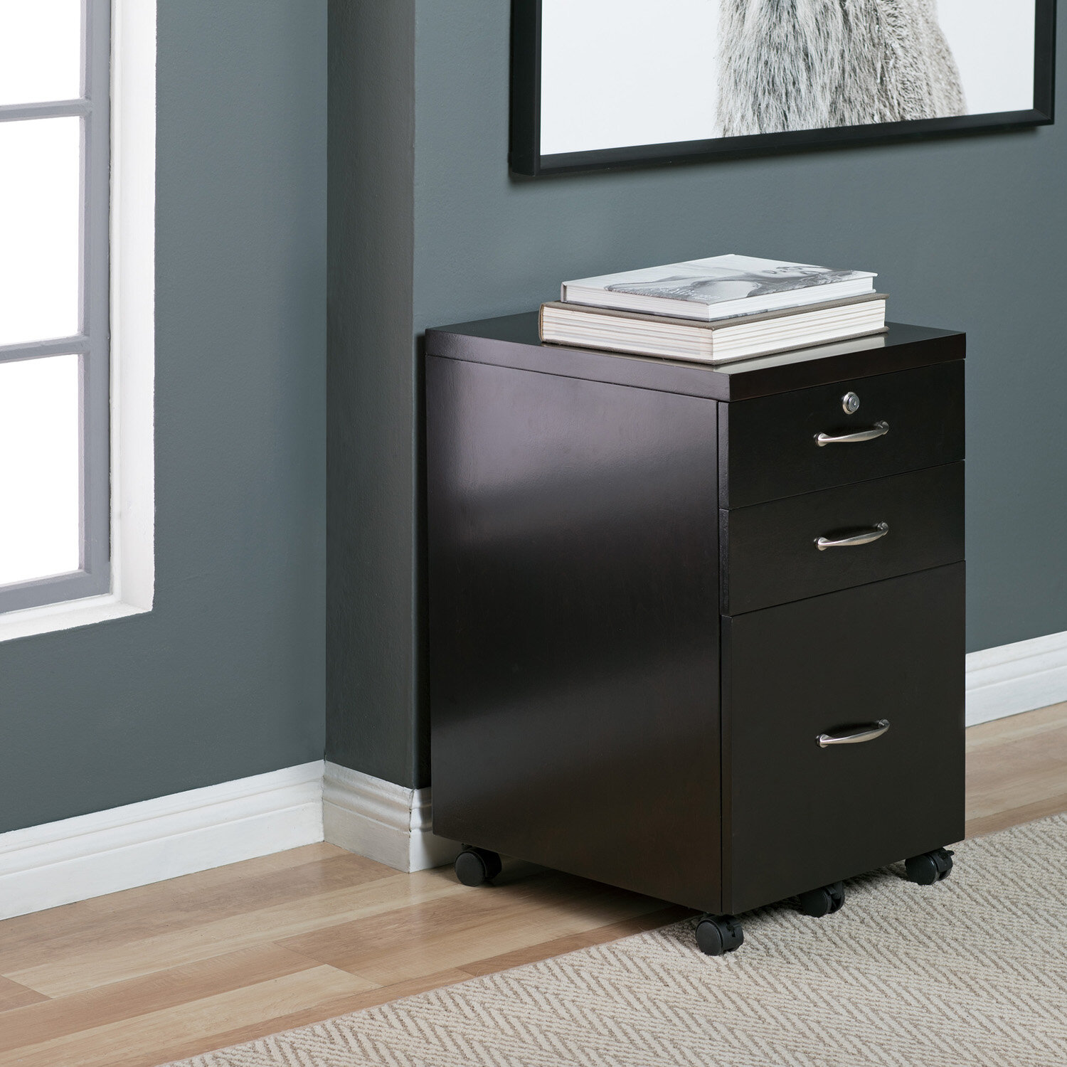 Whitten Wood 3 Drawer Vertical Filing Cabinet With Lock