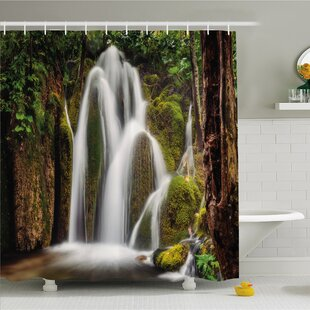 Scenery House Epic Waterfall down the Cliffs Deep in Forest Natural Wonders Picture Shower Curtain Set