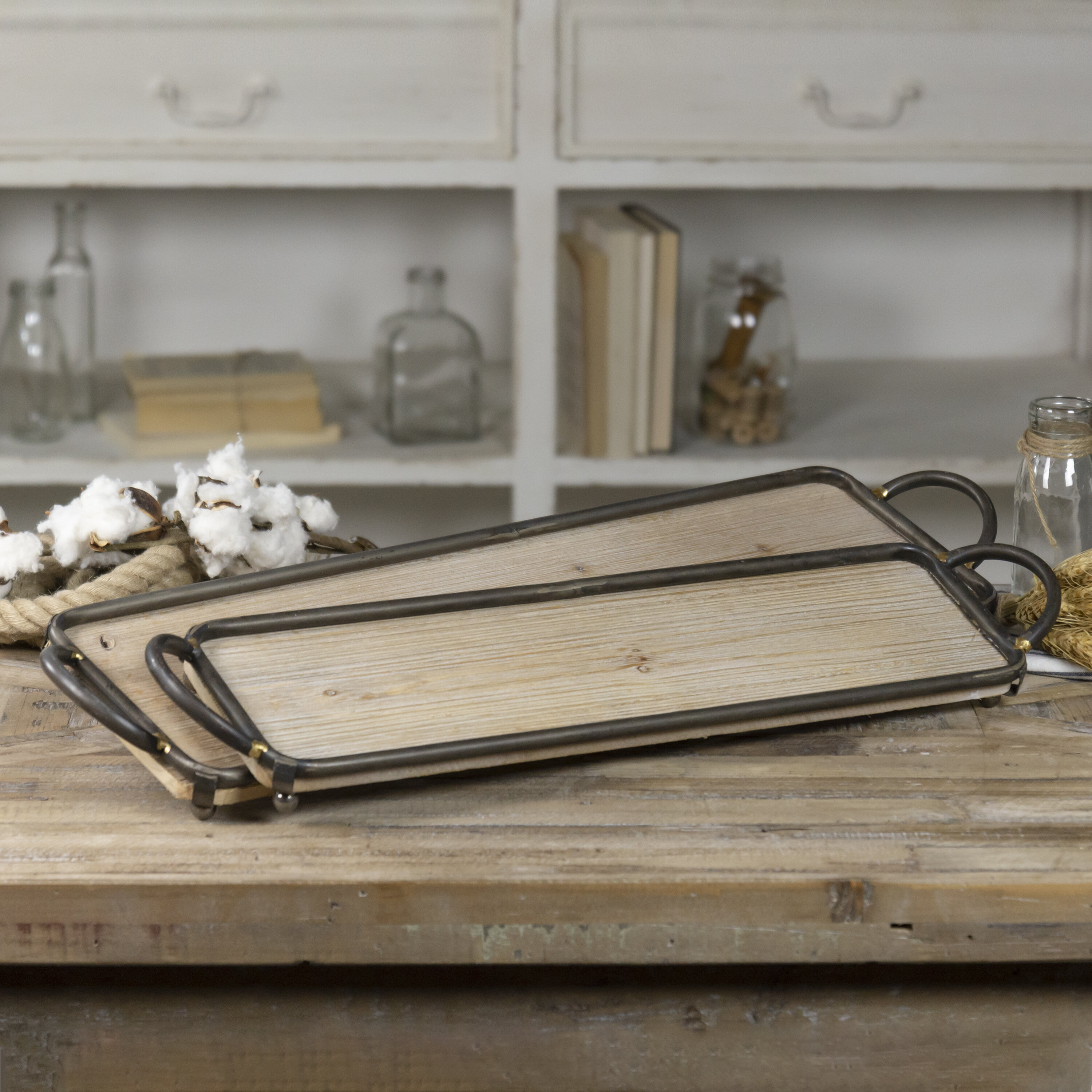 Gracie Oaks Kamille Valley 2 Piece Serving Tray Set Wayfair