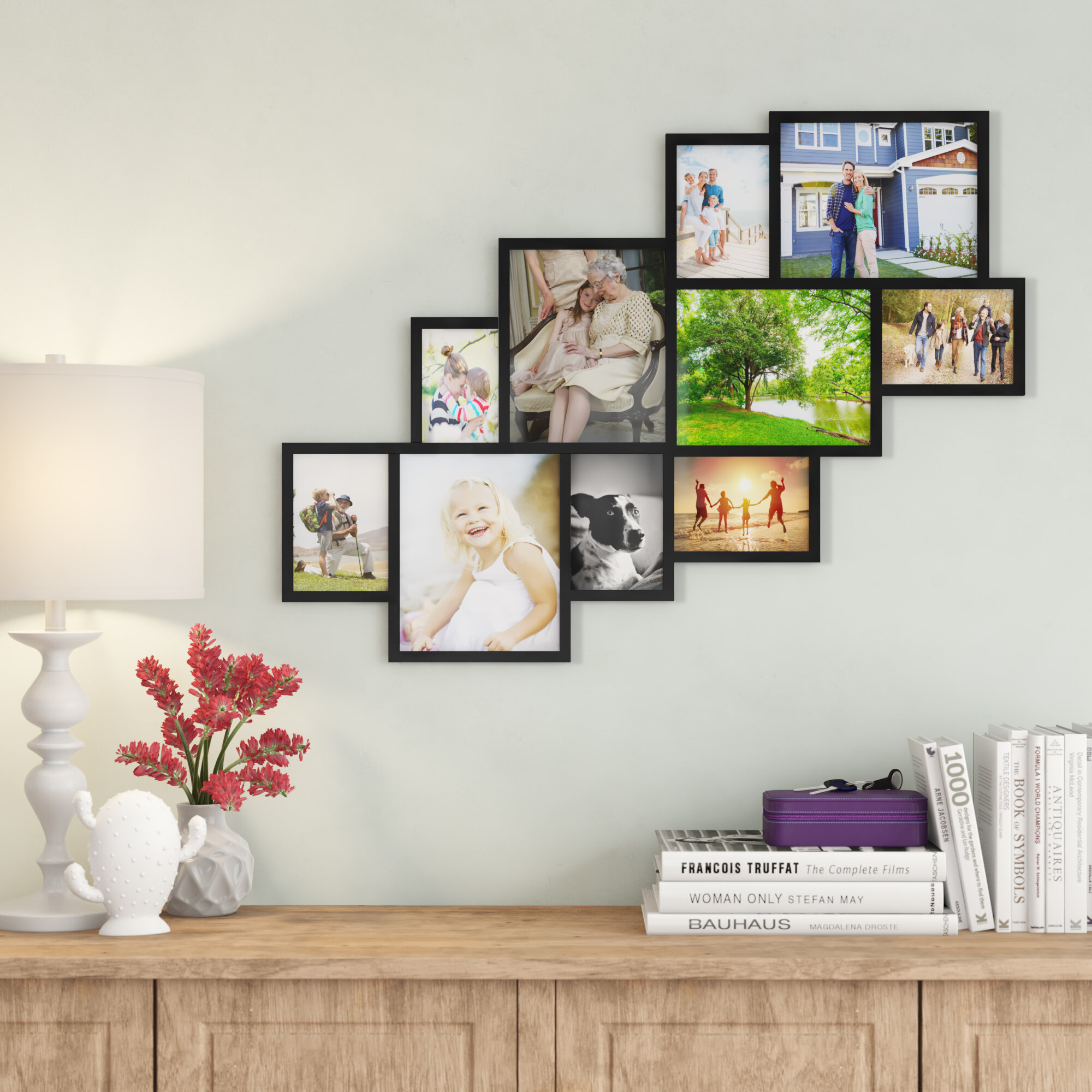 Barcenas 10 Opening Wood Photo Collage Wall Hanging Picture Frame