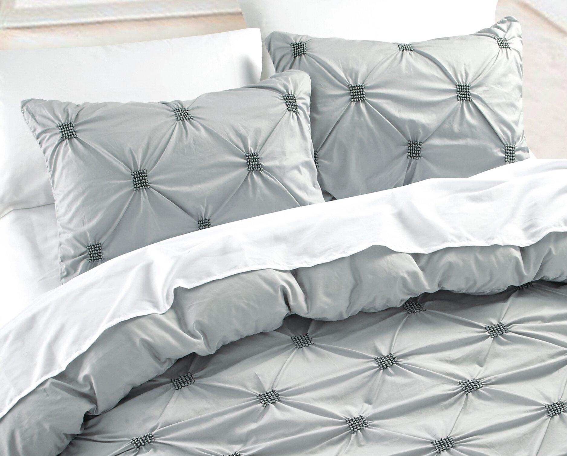 Nmk Textiles Inc Diamond Pintuck 3 Piece Duvet Cover Set Reviews Wayfair