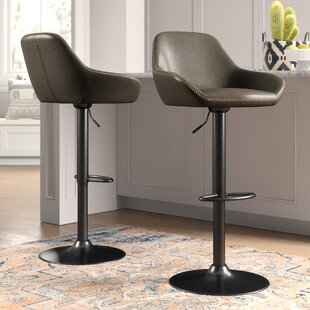 Thibodeaux Adjustable Height Swivel Bar Stool (Set of 2) Mistana