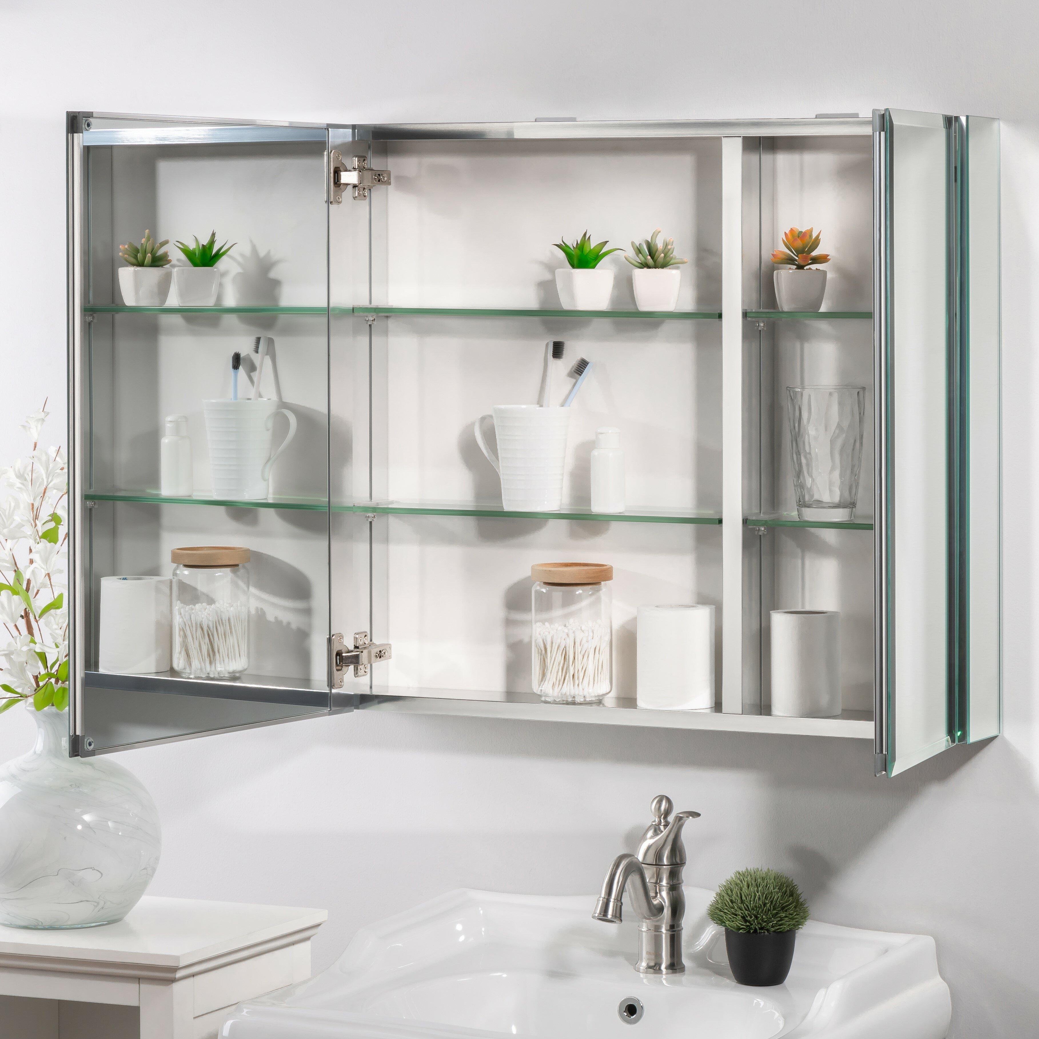 Sloten Surface Mount Framed 12 Medicine Cabinet with 12 Adjustable Shelves