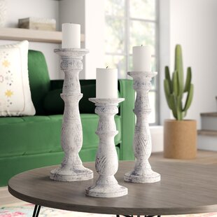 Wooden Candle Stand (Set of 3)