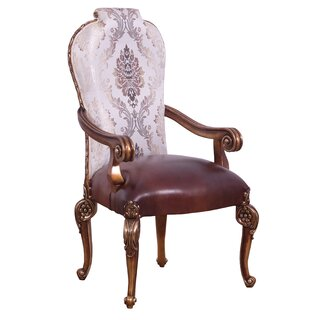 Traditional Wooden Arm Chair With Engravings, Set Of 2, Multicolor (Set of 2) by Astoria Grand SKU:DB876592 Description
