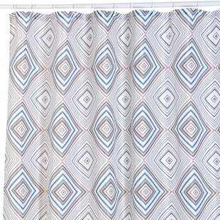 Buckhaven Geometric Print Canvas Single Shower Curtain by George Oliver No Copoun