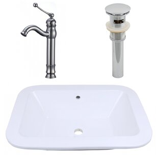 American Imaginations Ceramic Rectangular Dual Mount Bathroom Sink with Faucet and Overflow