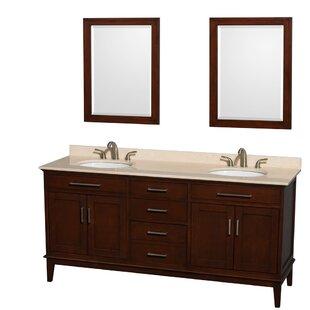 Hatton 72 Double Dark Chestnut Bathroom Vanity Set with Mirror By Wyndham Collection