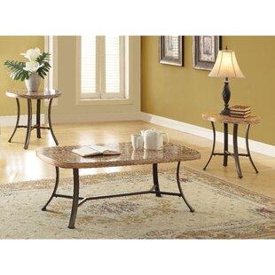 Fleur De Lis Living Towns Transitional Metal and Faux Marble 3 Piece Coffee Table Set