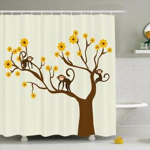 Kids Climbing Cute Monkey Fun Shower Curtain Set