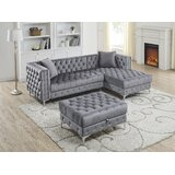 Beliveau 95 Right Hand Facing Sectional with Ottoman by Everly Quinn