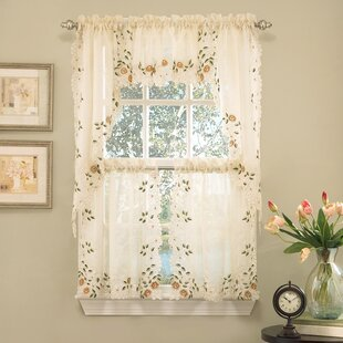 Old World Style Floral Embroidered Semi Sheer Tier Curtain (Set Of 2)