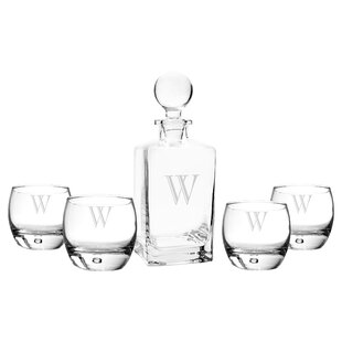 5 Piece Personalized Square Decanter Set