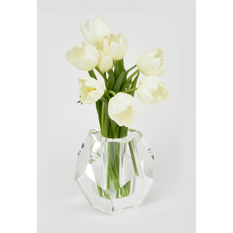 Everly Quinn Letha Diamond Cut Crystal Table Vase Wayfair
