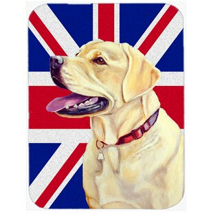 Union Jack Labrador with English British Flag Glass Cutting Board By Caroline's Treasures
