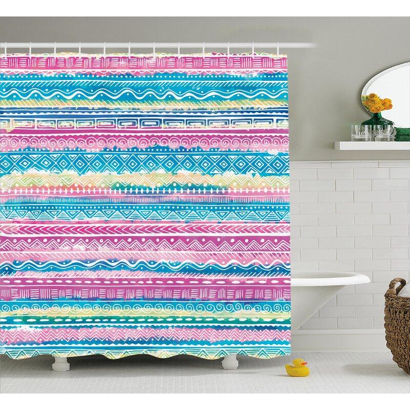 Gretchen Tribal Watercolor Tie Dye Effect Art Stripes Aquatic Theme Bohemian Aztec Print Shower Curtain