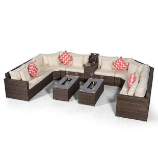 Villasenor Brown Rattan 8 Seat Sofa With 2 X Rectangle Ice Bucket Coffee Table & Drinks Cooler, Outdoor Patio Garden Furniture By Sol 72 Outdoor