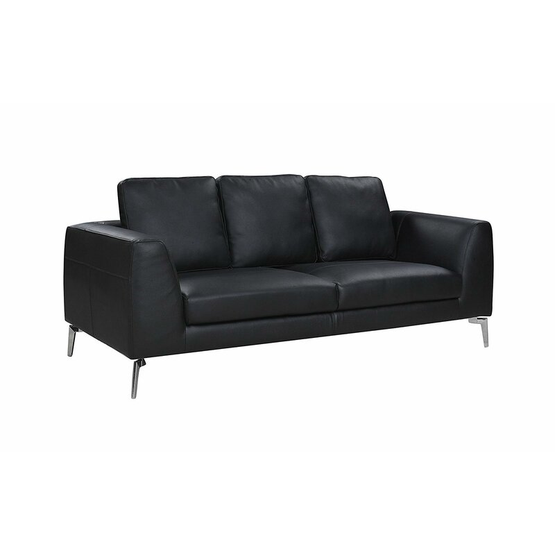 Orren Ellis Wrayon Mid Century Modern Plush Top Grain Leather Sofa Wayfair