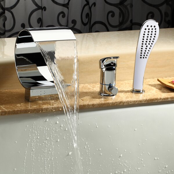 Kokols Single Handle Deck Mount Tub Faucet With Hand Shower