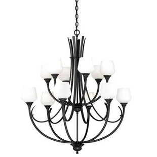 Vaxcel Grafton 12-Light Shaded Chandelier