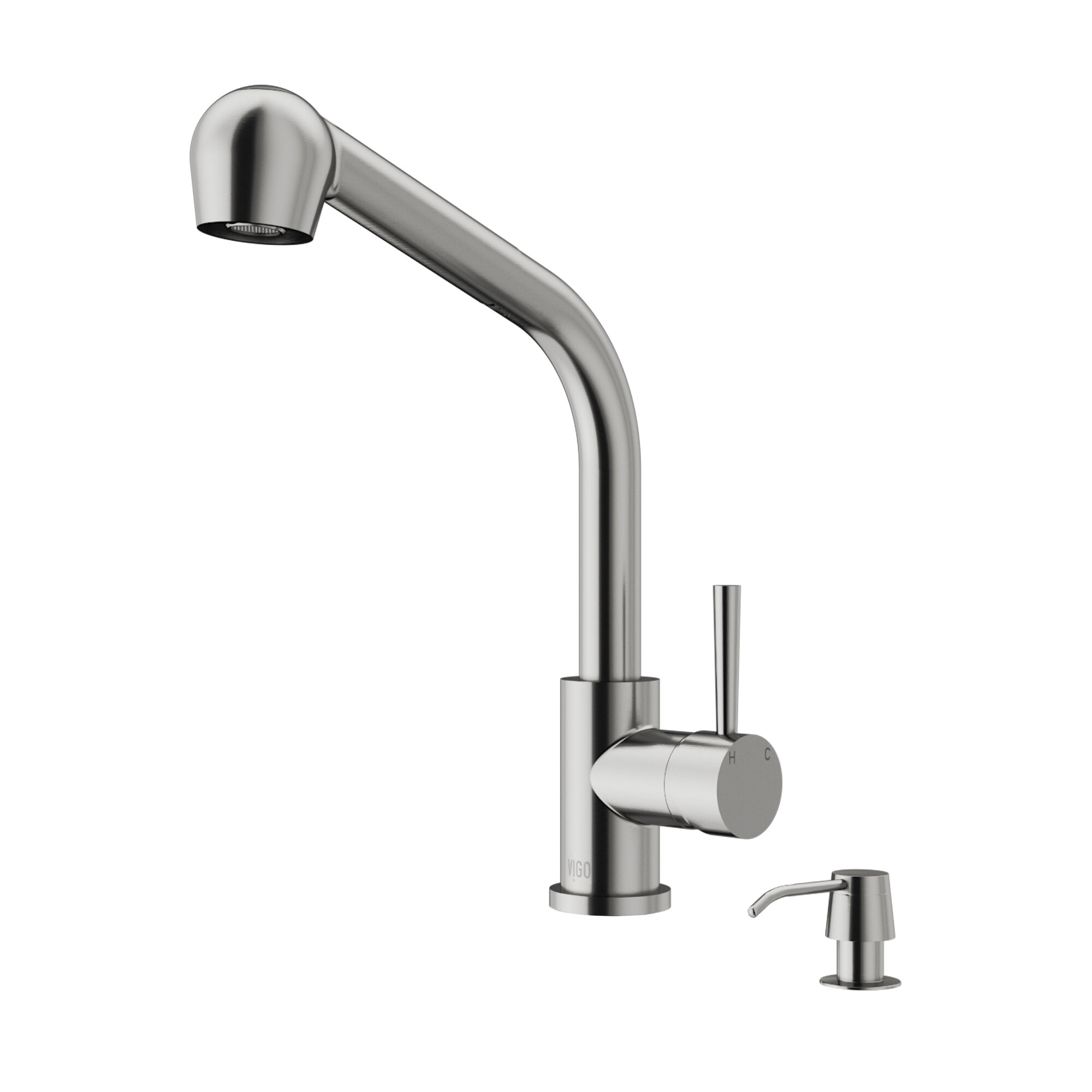 VIGO Avondale Pull Out Single Handle Kitchen Faucet with Soap