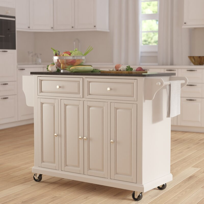Kitchen Island Table Granite: Darby Home Co Pottstown Kitchen Island With Granite Top & Reviews