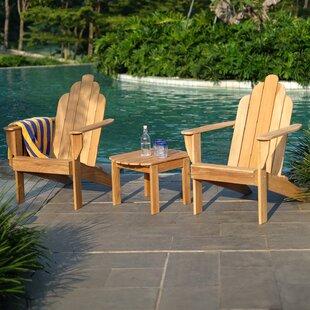 Cynthia Adirondack 3 Piece Teak Complete Patio Set