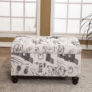 Paris Vintage French Writing Button Tufted Wood Storage Bench by Bellasario Collection