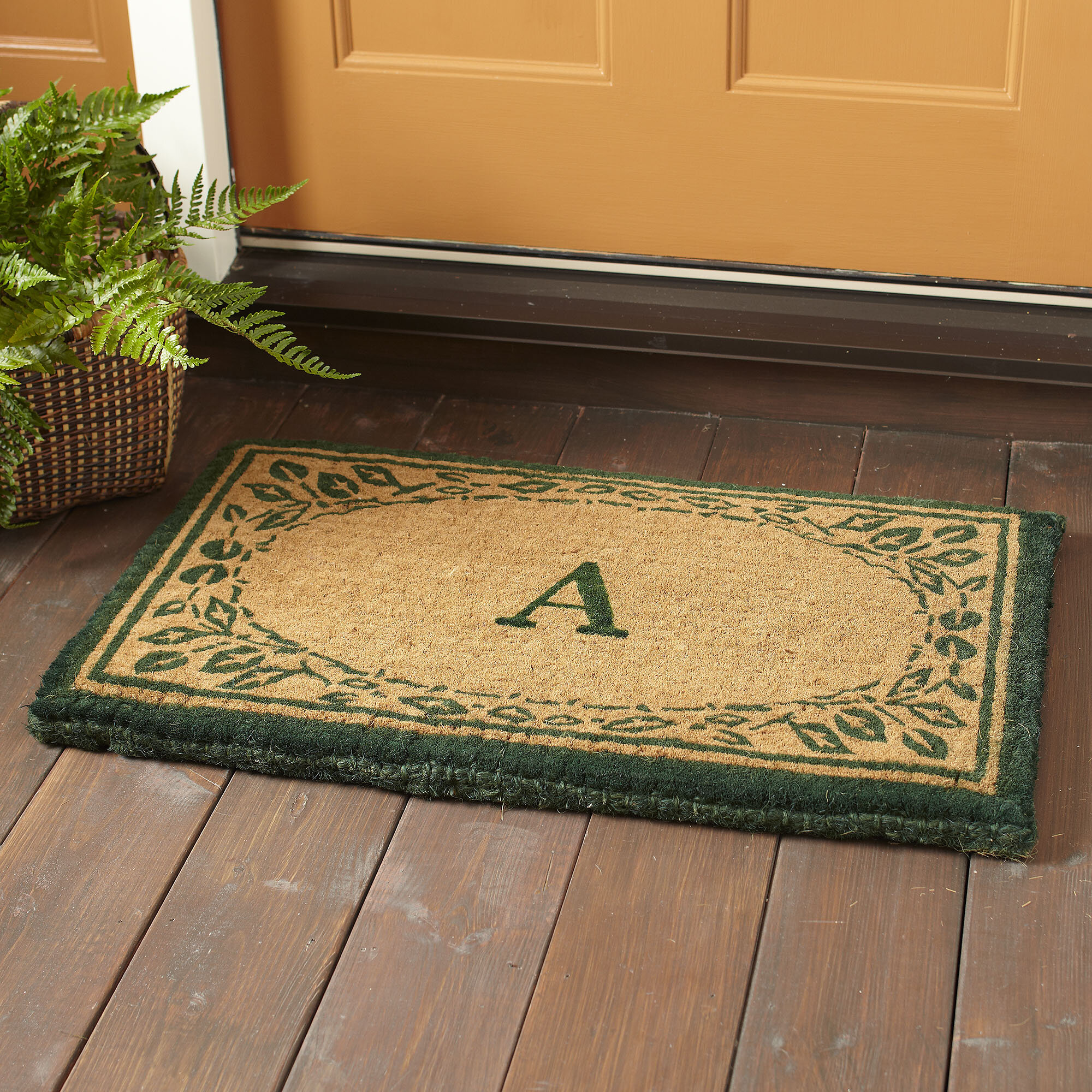 classic for enchanting birch cool doormat coloring lanetrade monogram front large good mats door simple image doors monogrammed mat full