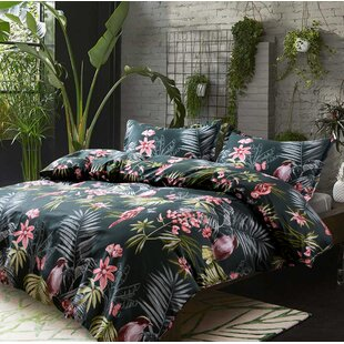 Simone Palm Leaves Exotic Tropical Flowers and Birds Duvet Cover Set