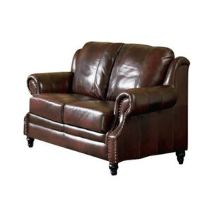 Loon Peak Hensley Leather Loveseat