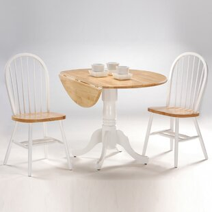 Springville Round Top 3 Piece Drop Leaf Solid Wood Dining Set