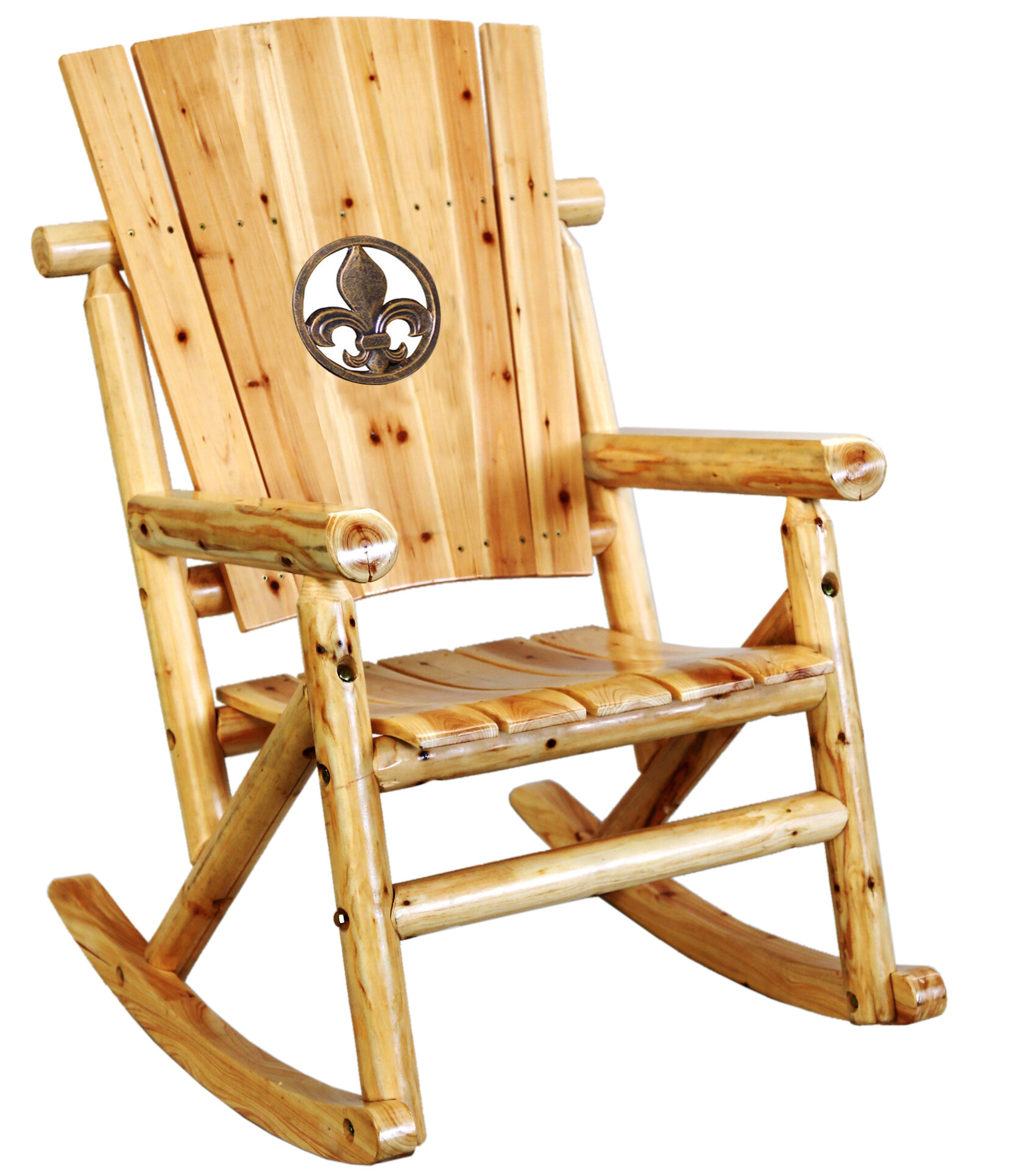 LeighCountry Fleur de Lis Medallion Single Rocking Chair II   Wayfair