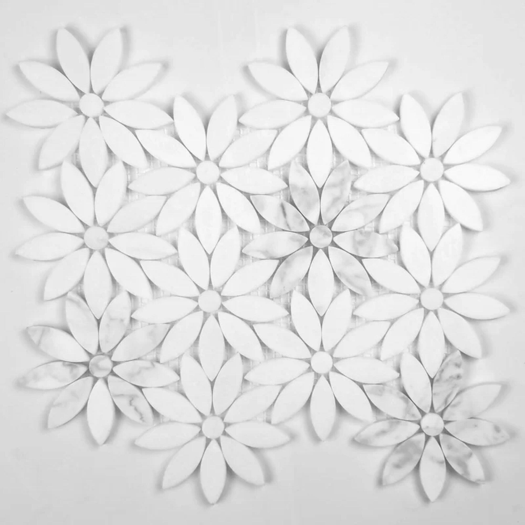 Porpora Carrera Daisy Flower 12 X 12 Natural Stone Mosaic Sheet Tile Wayfair