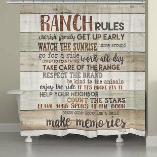 Stallman Rustic Ranch Rules Shower Curtain