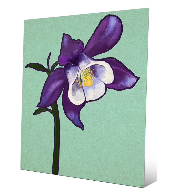 Click Wall Art Columbine Flower On Teal Painting Print Wayfair