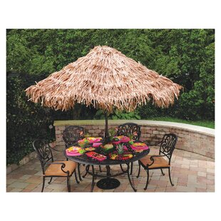Summer Luau Natural Umbrella Cover
