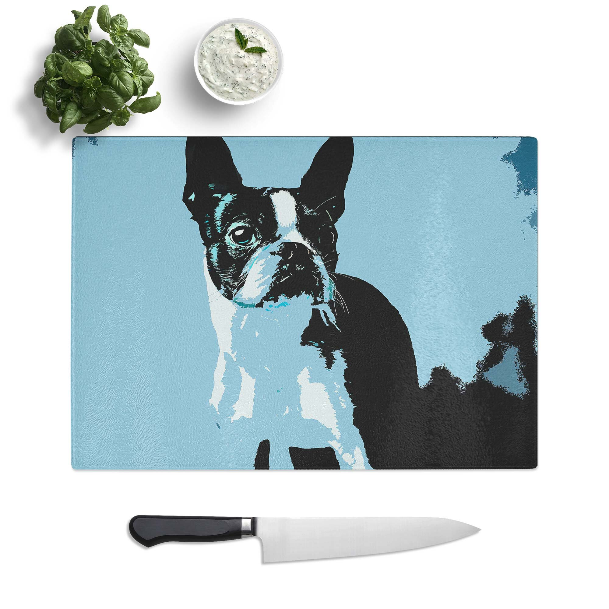 East Urban Home Tempered Glass Boston Terrier Dog Chopping Board Wayfair Co Uk