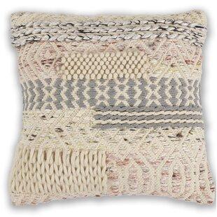 Crosswhite Wool Throw Pillow