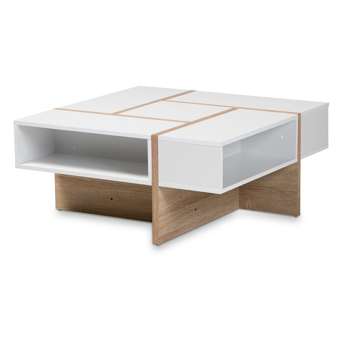 Mcjunkin Modern And Contemporary Two Tone White Oak Finished Wood Coffee Table