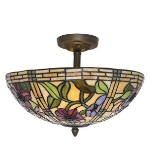 Astoria Grand Paule Tiffany Style Stained Glass Peonies 2-Light Semi Flush Mount