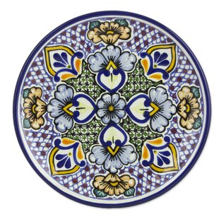 Alonso Luis Mexican 8  Talavera Floral Ceramic Dessert Plates (Pair)  sc 1 st  Wayfair & Mexican Talavera Plates | Wayfair