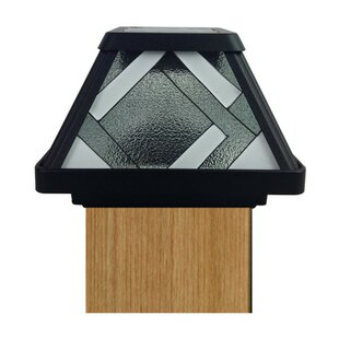 Premium Output Solar Powered Stained Glass 1 Light LED Fence Post Cap by Moonrays
