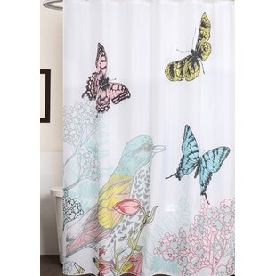 Ile Bird And Butterfly Print Shower Curtain