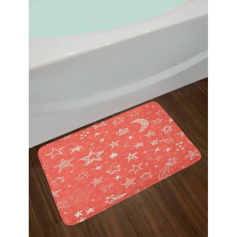 Coral Color Bathroom Rugs.East Urban Home Coral White Star Bath Rug Wayfair