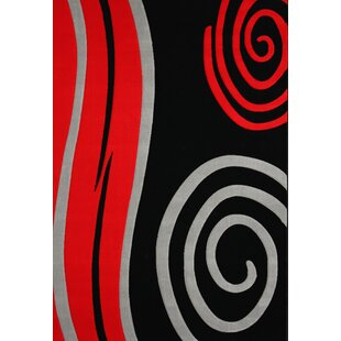 Reviews Geo Hand-Tufted Black/Red Area Rug ByRug Factory Plus