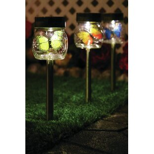 Butterfly Jar Solar Powered LED Pathway Light Pack (Set Of 3) By ForeverGiftsInc.