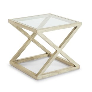 Auxiliary Table 60X60x55 Glass / Velado White Wood By Beachcrest Home
