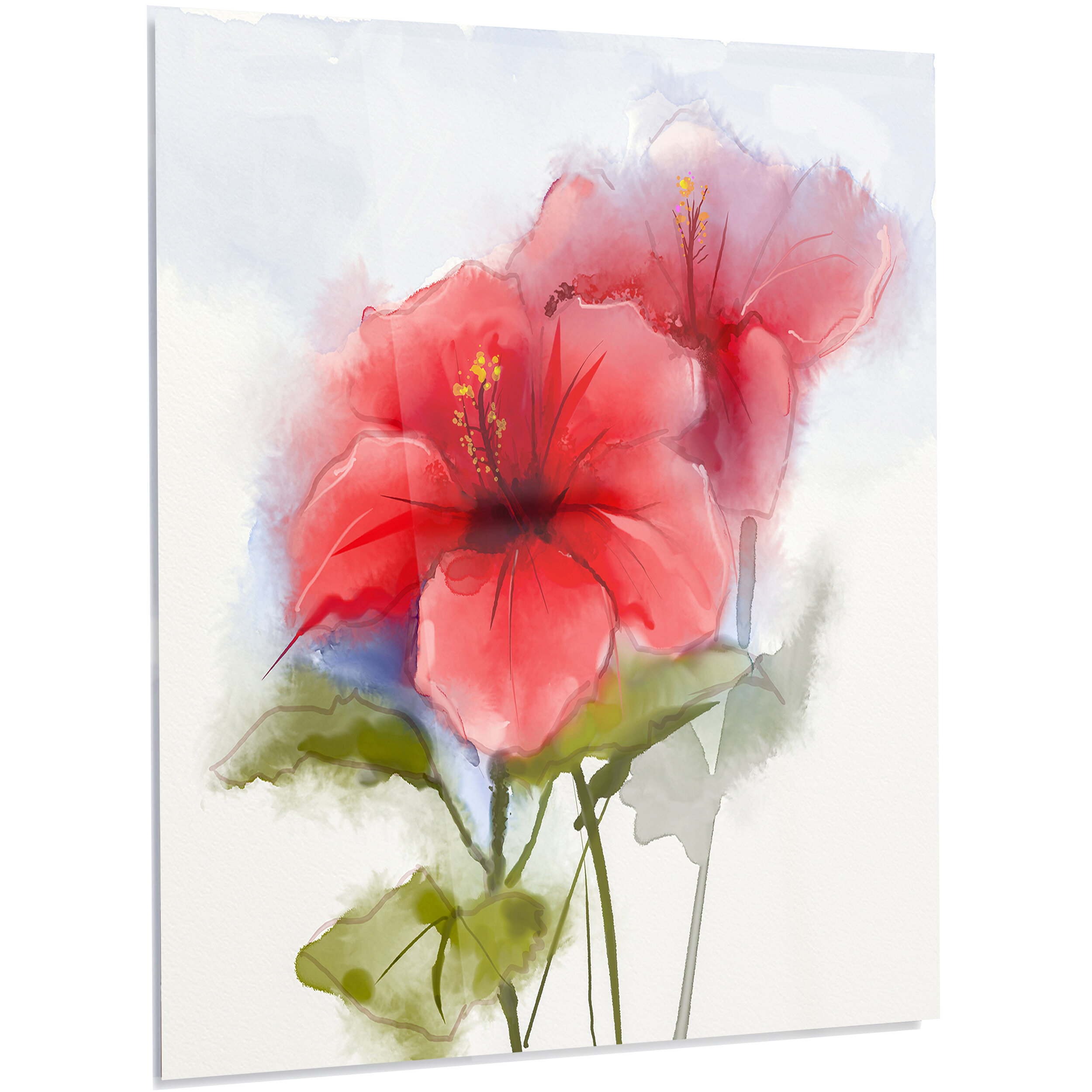 Designart Watercolor Painting Red Hibiscus Flower Led Painting