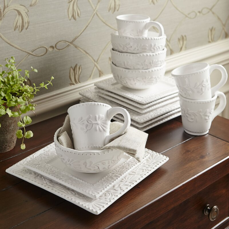 Newport Table Top Square 16 Piece Dinnerware Set, Service For 4